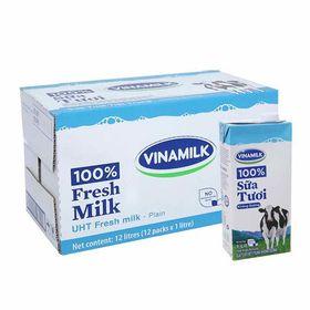 Sữa tươi Đàn bò Vinamilk 100% không đường 1 lít x 12 hộp giá sỉ