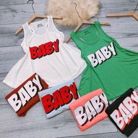 Áo thun giấy ba lỗ chữ baby giá sỉ