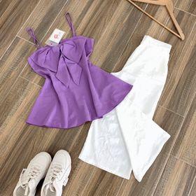 Set áo nơ quần ống rộng trắng