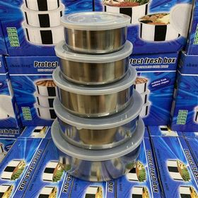 Bộ 5 thố đựng cơm inox nắp nhựa giá sỉ