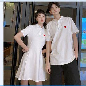 Áo thun cặp đôi tim trắng xòe giá sỉ