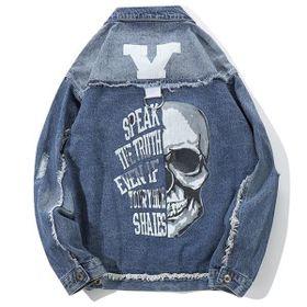 Áo khoác jean nam in hình đầu lâu chuyên sỉ jean 2KJean giá sỉ