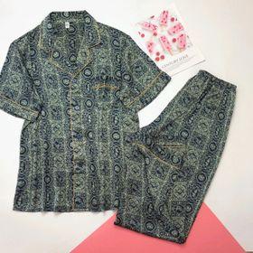 Đồ ngủ đồ mặc nhà pijama tnqd viền vàng Nam Lụa QC cao cấp giá sỉ