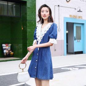 Đầm jean phối ren cổ chữ v giá sỉ