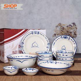 Bộ bát đĩa sứ trắng vẽ đào quả đẹp xuất sắc, bộ 12 món đầy đủ các vật phẩm bàn ăn dành cho gia đình - XƯỞNG GỐM VIỆT giá sỉ