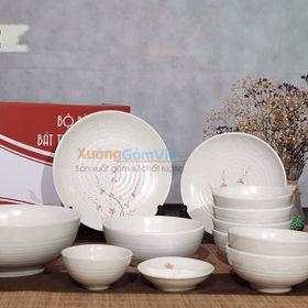 Bộ bát đĩa gốm trắng vẽ đào nhẹ nhàng nhưng tinh tế,đơn giản nhưng trang trọng, 1 set đầy đủ 12 sản phẩm -XƯỞNG GỐM VIỆT giá sỉ
