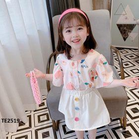 Set váy bé gái : áo sơ mi cổ vuông+ chân váy trắng TE2519 giá sỉ