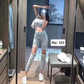 Quần baggy jean nữ rách te tua MS137 kho chuyên sỉ jean nam nữ 2KJean giá sỉ