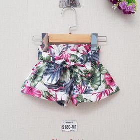 DG49-Q-01- Quần đùi ống rộng bé gái, chất đũi xuông mềm, lưng thun có dây thắt nơ, in hoa, made in Việt Nam giá sỉ