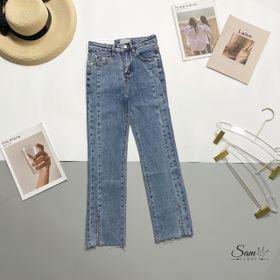 Quần jeans ống đứng xẻ gấu giá sỉ