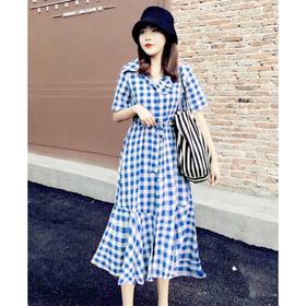 Đầm Suông Caro Xanh Cột Eo