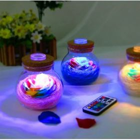 Lọ hoa thủy tinh có đèn phát sáng kèm remote giá sỉ