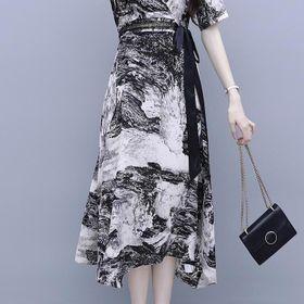 ĐẦM XOÈ HOẠ TIẾT DÂY NƠ ĐEN - DT1384 - chuyên sỉ thời trang nữ giá gốc giá sỉ