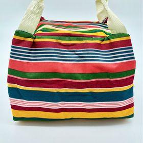 Túi giữ nhiệt đựng cơm sọc ngang sắc màu cầu vồng loại dày tốt GD013 giá sỉ