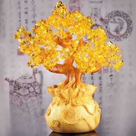Cây Tài Lộc Đá Thạch Anh 21.5cm ( vàng, tím) giá sỉ