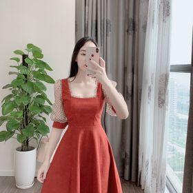 Váy nhung kiểu vổ vuông phối tay chấm bi giá sỉ
