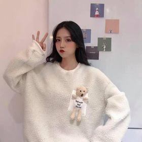 Áo sweater lông gấu unisex nam nữ freesize dưới 65kg giá sỉ