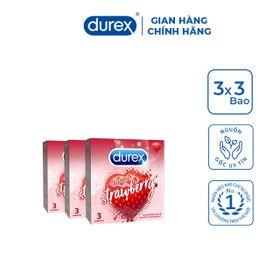 Bộ 3 Bao cao su Durex Sensual Strawberry (3 bao/hộp) giá sỉ