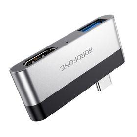 Bộ chuyển đổi cổng BOROFONE BH2 từ cổng Type C ra cổng HDMI và USB 3.0 giá sỉ