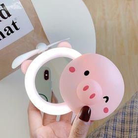 Quạt gương đèn led 3in1 cầm tay hình heo gấu dễ thương giá sỉ