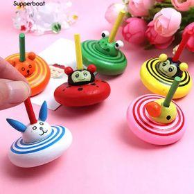 Đồ chơi con quay gỗ hình động vật dễ thương nhiều màu giá sỉ