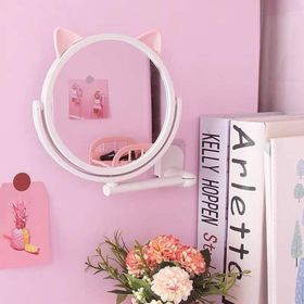 Gương trang điểm dán tường xoay 360 độ họa tiết tai mèo giá sỉ