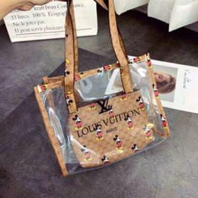 Túi xách L V nhựa trong 2 món giá sỉ