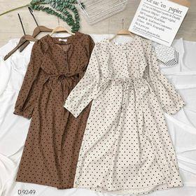 Đầm bi babydoll có dây cột eo, dài qua gối giá sỉ