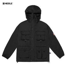 Áo khoác dù túi hộp có mũ màu đen - Hiddle giá sỉ