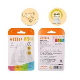 Vỷ 2 núm ti Wesser siêu mềm cho bình sữa cổ hẹp giá sỉ