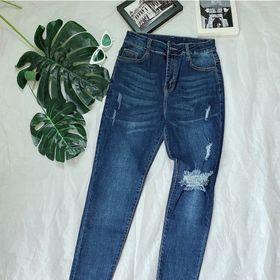 Quần jeans nữ lưng cao wash rách giá sỉ