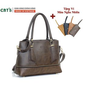 Túi xách nữ công sở thời trang CNT TX41 cao cấp (Kèm ví) NÂU giá sỉ