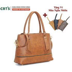 Túi xách nữ công sở thời trang CNT TX41 cao cấp (Kèm ví) BÒ ĐẬM giá sỉ