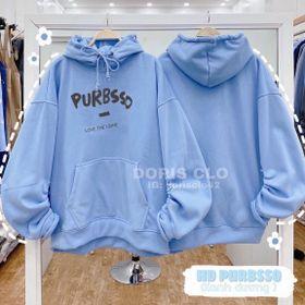 Áo hoodie nỉ ngoại tay phồng nhúng in PURBSSO đẹp giá sỉ