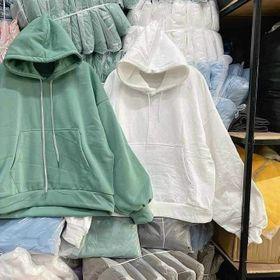 Áo hoodie nỉ ngoại tay phồng nhúng trơn nón 2 lớp giá sỉ