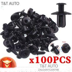 Bộ 100 ốc vít nhựa cho tấm chắn bùn , gắn cản và lòng dè các dòng xe ô tô. kích thước lỗ: 8mm giá sỉ