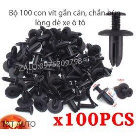 Bộ 100 ốc vít nhựa cho tấm chắn bùn , gắn cản và lòng dè các dòng xe ô tô. kích thước lỗ: 6mm giá sỉ