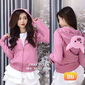 Áo khoác da ca cá thêu logo Heo túi trong xỏ ngón, nón trùm đầu kéo khẩu trang đẹp giá sỉ