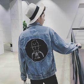 Áo khoác jean unisex phối hình sau lưng giá sỉ