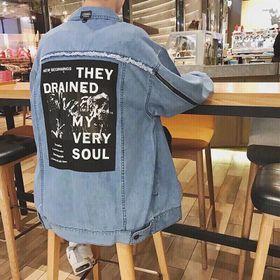 Áo khước jean unisex phối dây kéo tay áo giá sỉ