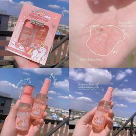 Bộ Meckup Fix Spray gồm Kem lót và xịt khoáng Kiss Beauty Unicorn cầu vồng giá sỉ