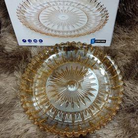 Đĩa thủy tinh vàng tròn 30cm giá sỉ