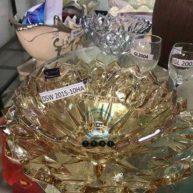 Bát đĩa thủy tinh pha lê thả hoa dáng kim cương màu vàng giá sỉ