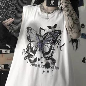 Áo thun ba lỗ in bướm thun co giản đẹp giá sỉ