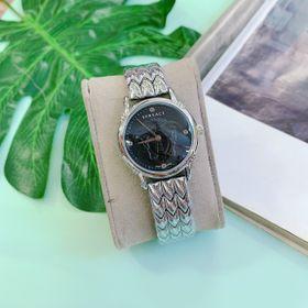 Đồng hồ nữ mặt đen viền trắng, thép không rỉ. Hàng bao đẹp