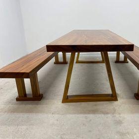 Bộ bàn ghế ăn gỗ me tây nguyên khối dài 2,2 x 81 x 7 giá sỉ