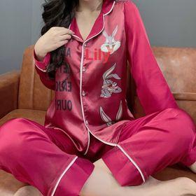 đồ bộ pizama Satin in 3d thỏ Dài Dài giá sỉ