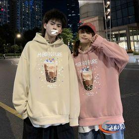 Áo hoodie thun nỉ ngoải in hình ly trà sữa MBQBQBURE nón 2 lớp giá sỉ