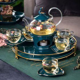 Bộ ấm chén đế nến pha trà hoa cúc ấm bằng thủy tinh chịu nhiệt kèm khay hình tròn giá sỉ