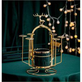 Khay úp cốc mẫu hươu mạ vàng có ống sứ cắm thìa dĩa giá sỉ
